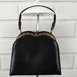 Vintage Etna black leather evening bag